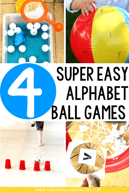 There are so many alphabet printable games but sometimes we just need to get the kids moving. These alphabet Ball Games are super simple to prepare and use.