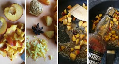 Zubereitung Pfirsich-Eis mit Southern Comfort und karamellisiertem Haselnuss-Crunch