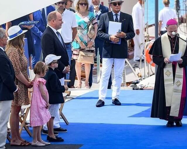 Prince Albert, Princess Gabriella, Hereditary Prince Jacques and Camille Gottlieb. The Princess Charlene Rose Garden