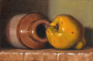 Oil painting of an earthenware jar on its side beside a quince.