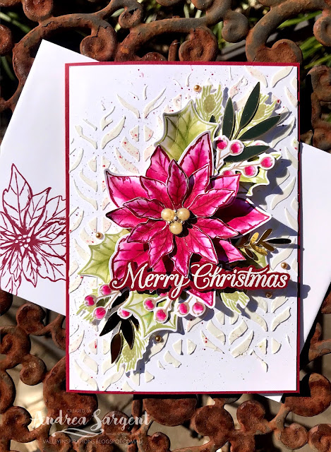 Cherry Cobbler Poinsettia Petals Stampin Up card, Andrea Sargent, Independent Stampin' Up! Demonstrator, South Australia