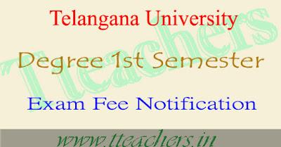 Telangana university degree 1st sem exam fee dates 2016 time table