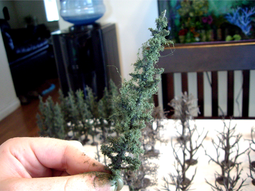 Woodland Scenics pine tree armature with conifer green foliage