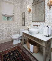 Wallpaper and brick floor for unique bathroom ideas with interesting vanity and wall sconces