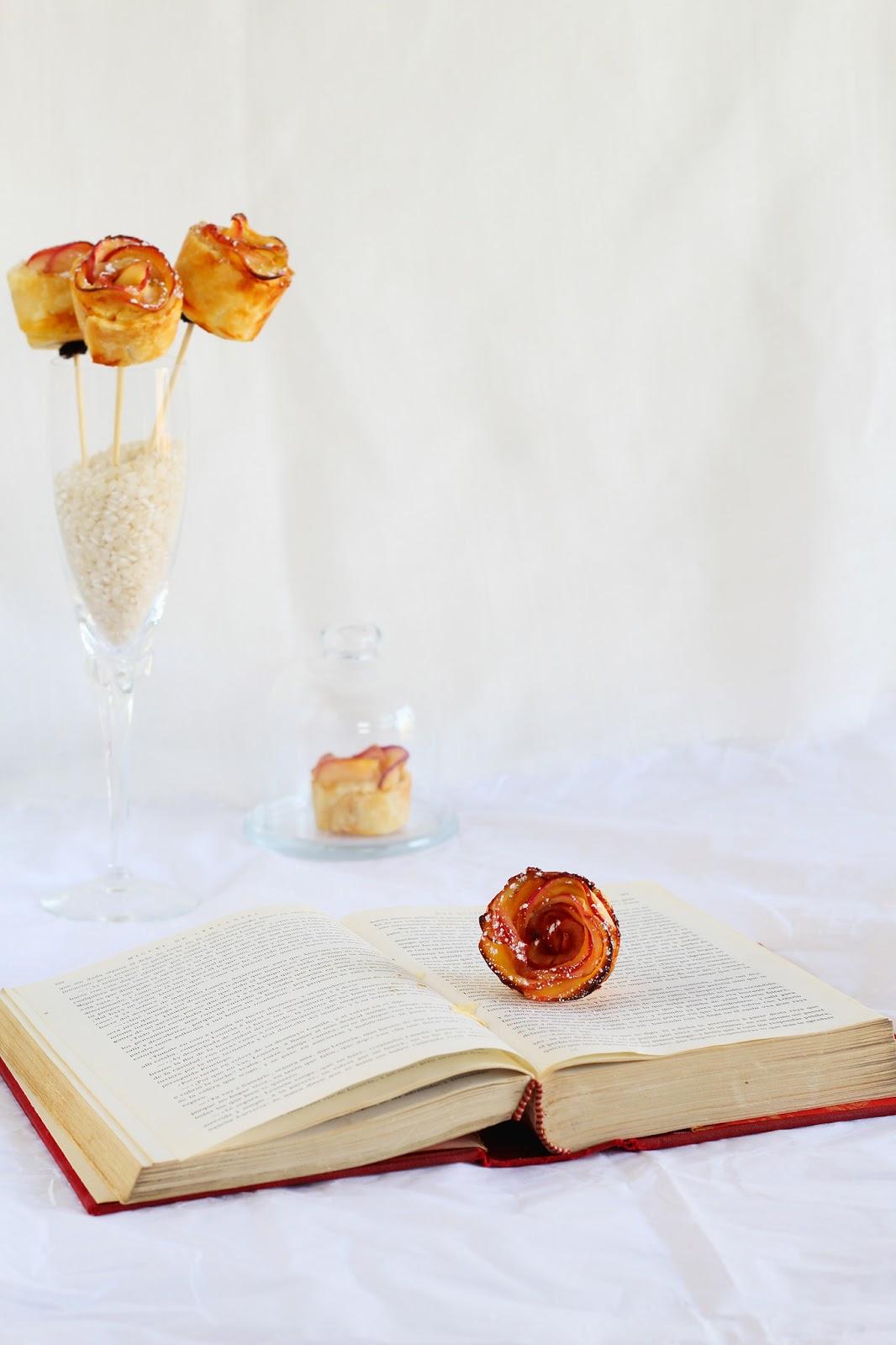 Rosas de manzana y hojaldre con crema-Idea Sant Jordi