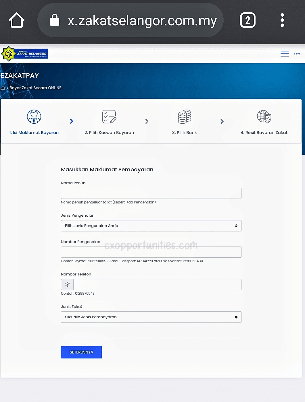 bayar zakat online selangor
