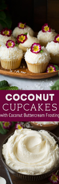 Coconut Cupcakes with Coconut Buttercream Frosting