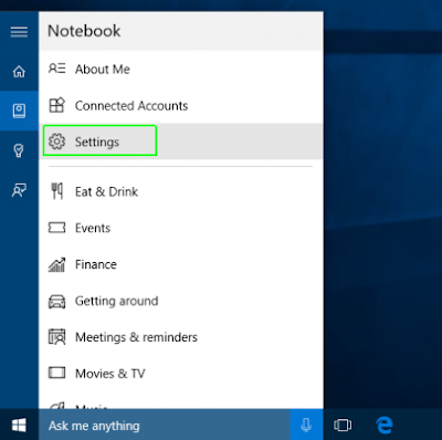 Menu pengaturan Windows 10
