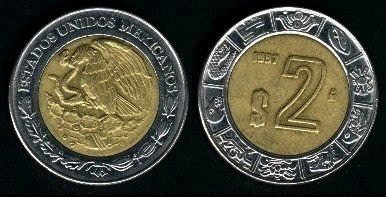 Mexico 2 Pesos (1996+) Coin