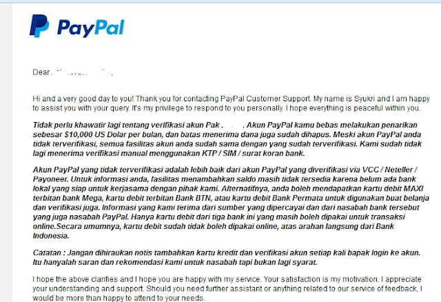 Email dari paypal tentang penarikan dana status belum terverifikasi