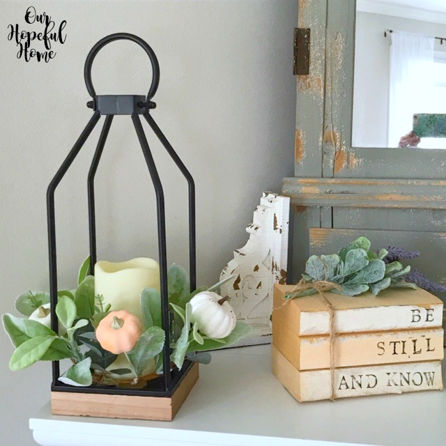 fall lantern hand-stamped book bundles white corbel lambs ear