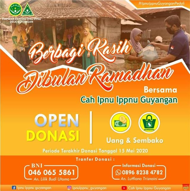 IPNU IPPNU Guyangan Ajak Masyarakat Berbagi Kasih Dibulan Ramadhan