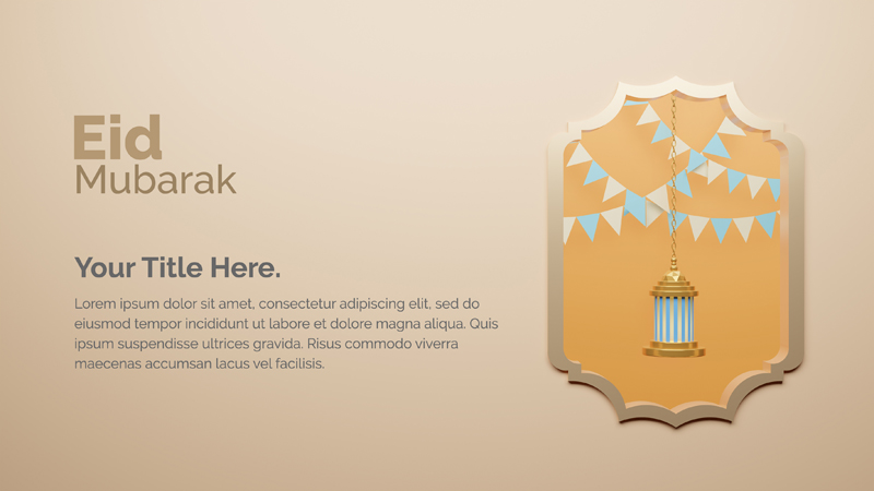 3D Rendering Islamic Design With Golden Lantern