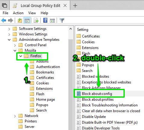 Cara menonaktifkan akses ke halaman konfigurasi Firefox