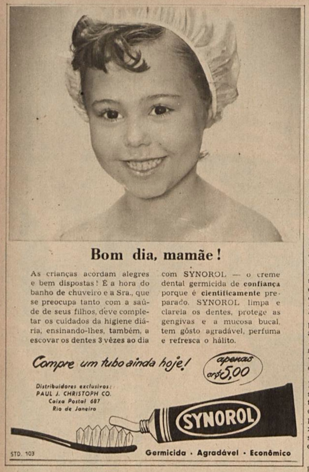 Anúncio antigo do creme dental Synorol para crianças veiculado em 1953