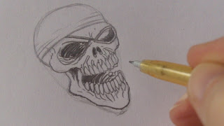 pencil drawing skull pirate