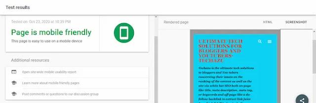Mobile-friendly test of Techazu's page