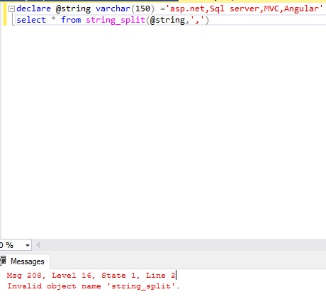 [Solved] SQL SERVER (Error Message) : Invalid object name 'string_split'.
