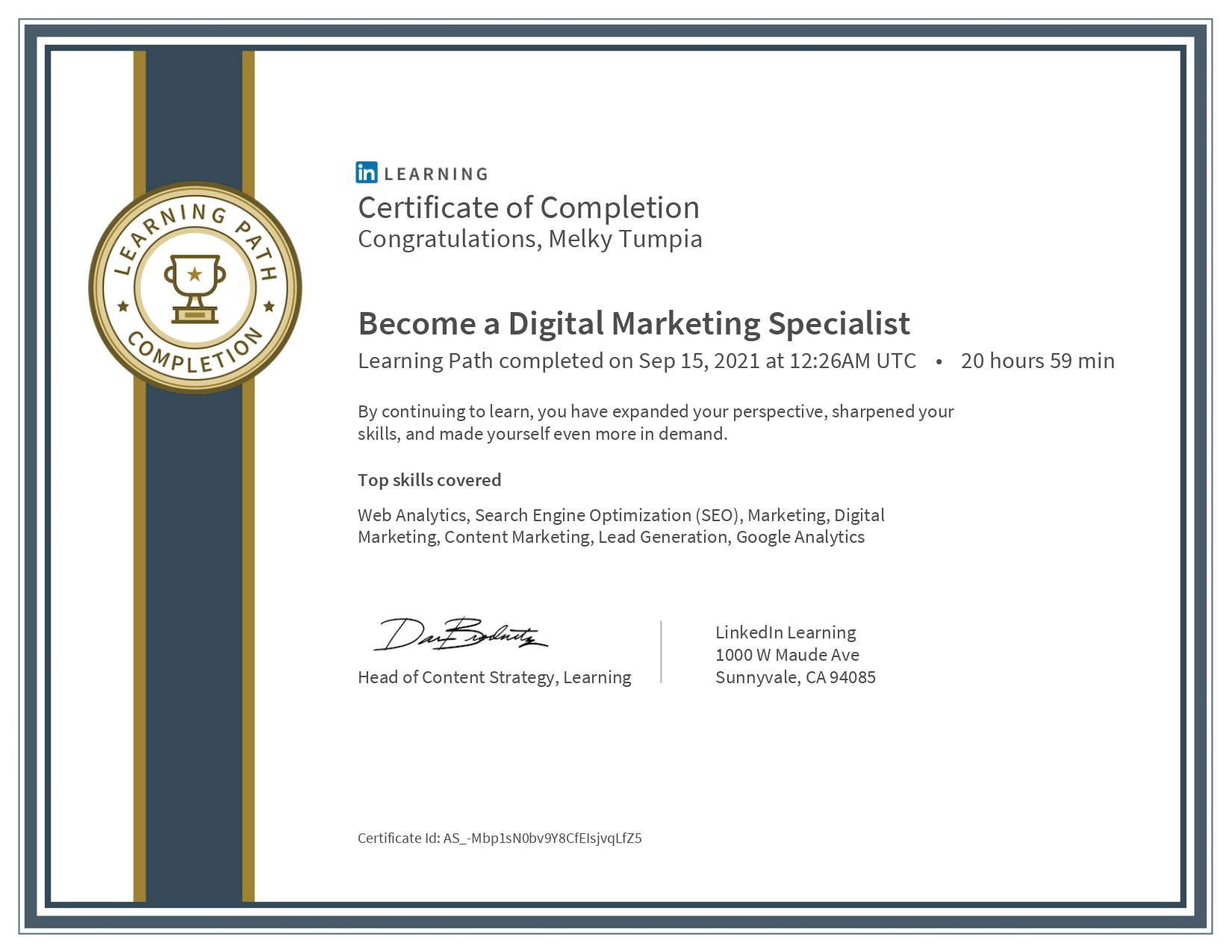 Become a Digital Marketing Specialist - LinkedIn Learning Path (Melky Tumpia)