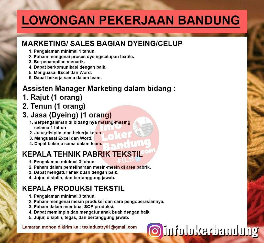 Lowongan Kerja Textile Industries Bandung Agustus 2020
