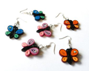 Colourful butterfly quilling earrings for girls - quillingpaperdesigns