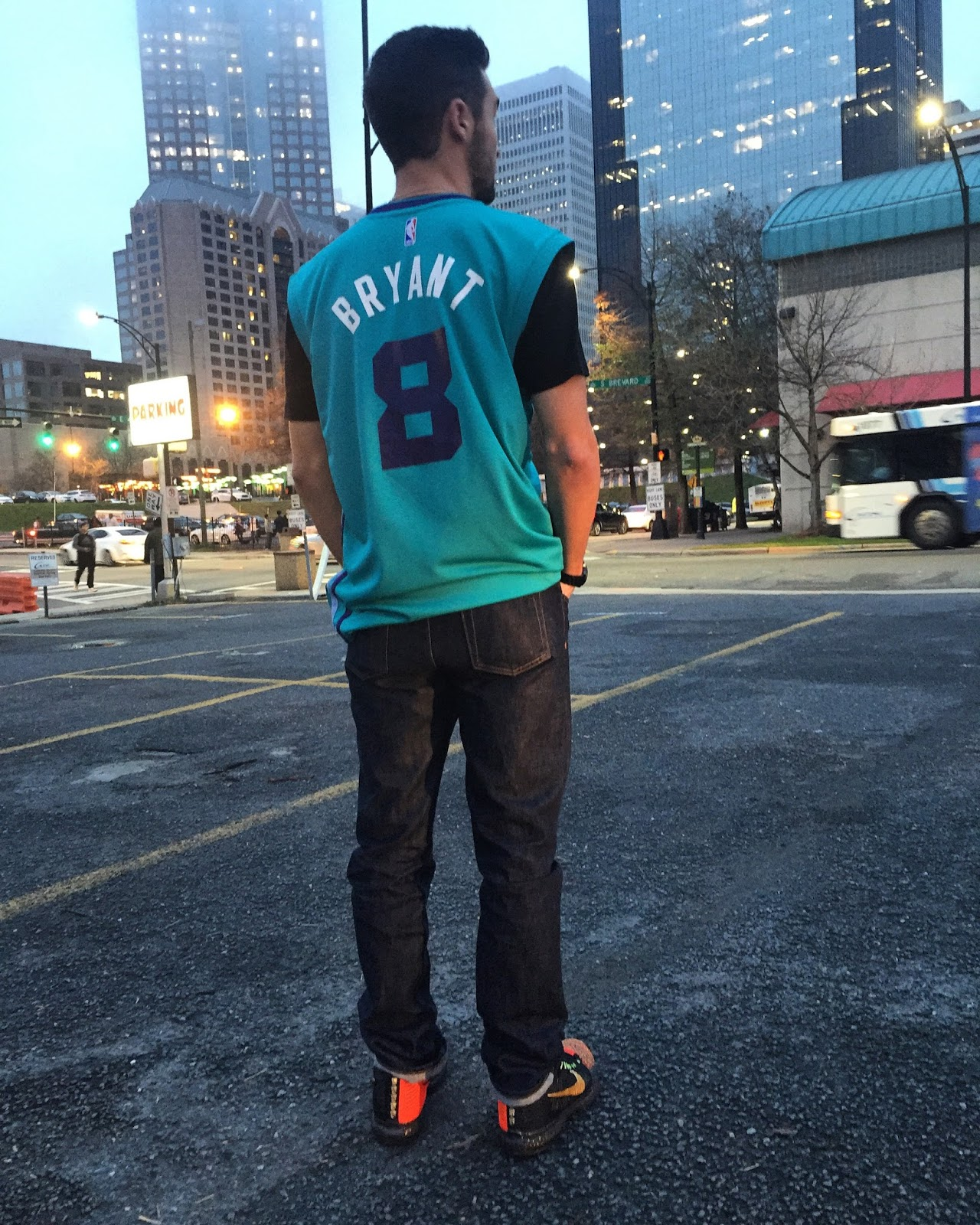 Shot from downtown Charlotte in the custom Hornets Kobe 8 ... 7007209bc