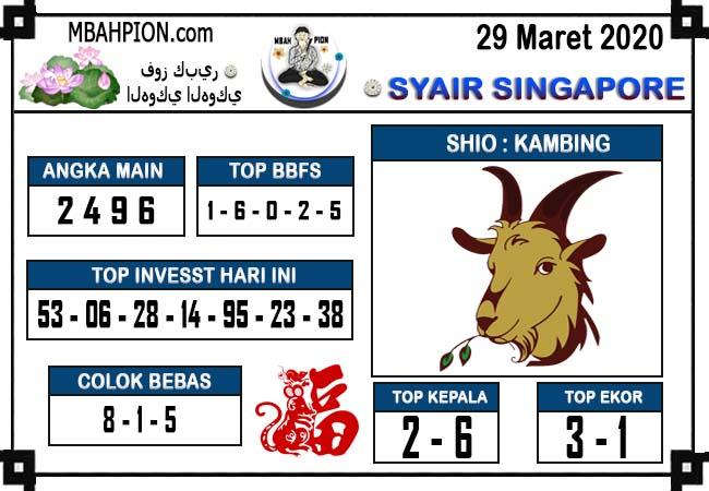 Prediksi Togel Singapura Minggu 29 Maret 2020 - Syair Mbah Pion