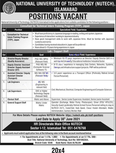 National University of Technology Islamabad (NUTECH) Jobs 2021