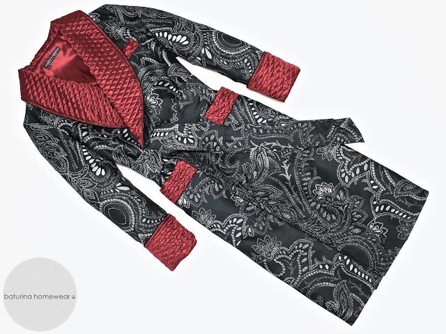 Men's black paisley robe burgundy quilted silk dressing gown smoking jacket
