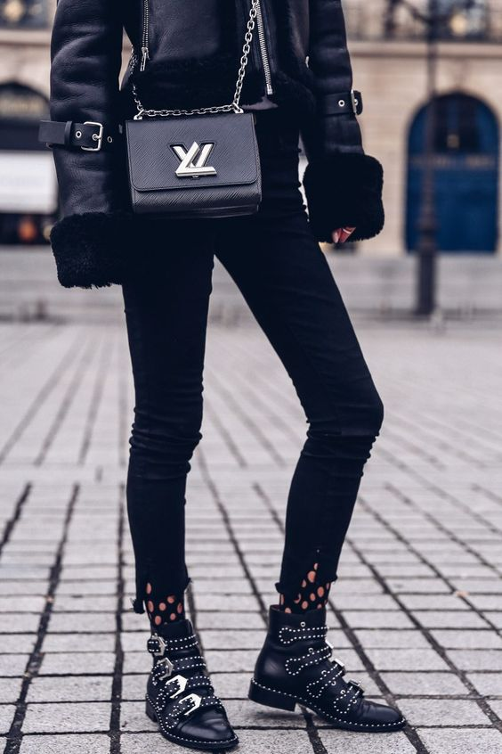 Givenchy Studded Ankle Boots Louis Vuitton Shoulder Bag Black Aviator Shearling Coat