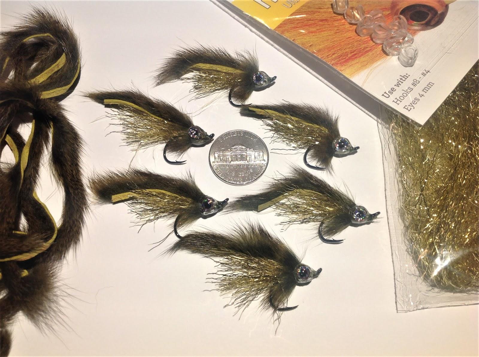 streamer. 12 flies bead head Zonker – olive – red gills – silver body