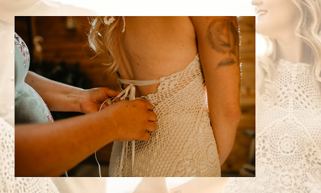handmade lace wedding gown