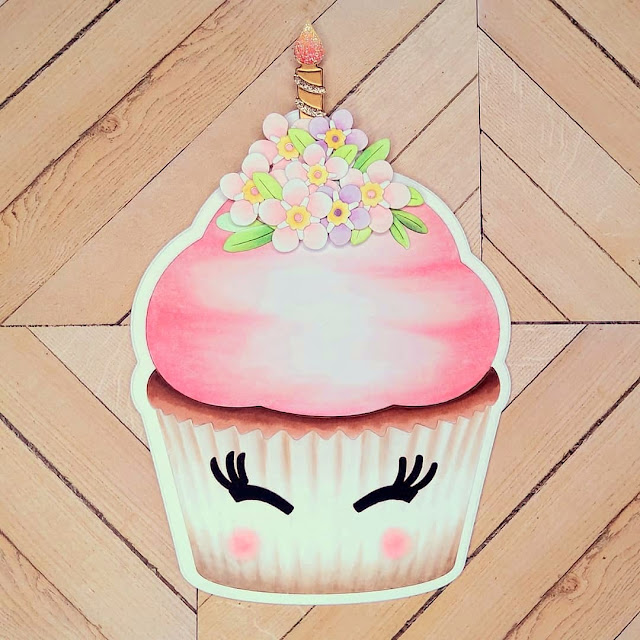Sunny Studio Stamps: Cupcake Shaped Dies Customer Card by Sylvie