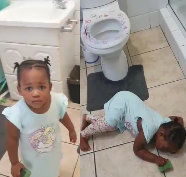 Mom shares her daughter's dramatic reaction after she was caught messing up the bathroom (Watch video)