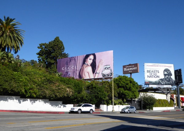 Gal Gadot Gucci Bamboo fragrance billboard Sunset Strip