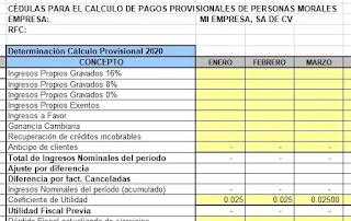 Cédulas de Pagos Provisionales Personas Morales