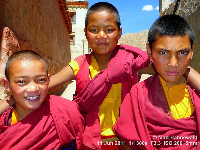 people, street portrait, triple portrait, young Tibetan Buddhist monks, boy monks, Tibetan Buddhism, Phyang Gompa monastery, Leh, Ladakh, Northern India, Facing the World, © Matt Hahnewald