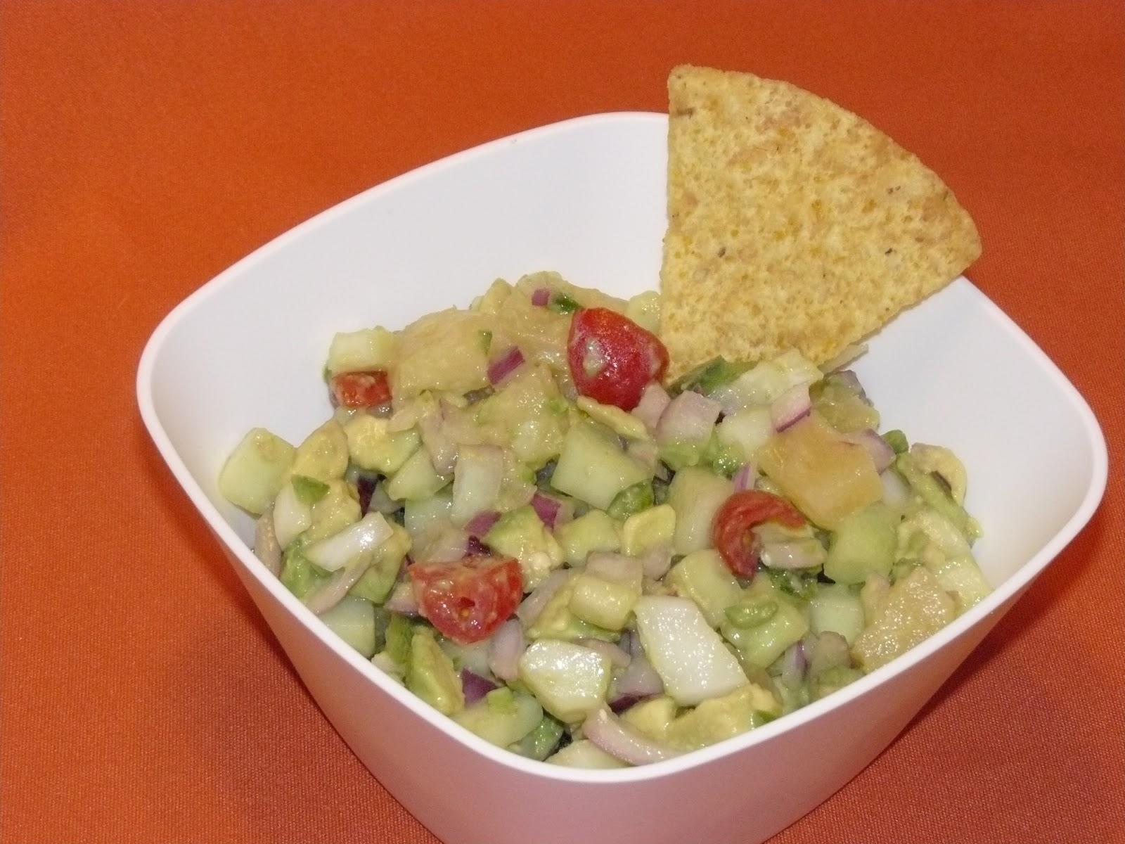 a chookie chookie: avocado pineapple cucumber salsa