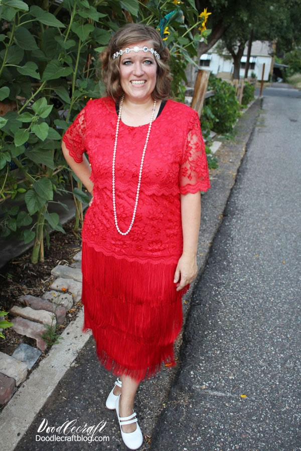 Red lace dress with 3 layers of fringe from Goodwill to wear to a Downton Abbey Inspired 1920's Flapper Garden Party Girls Night and all the details on how to host your own!