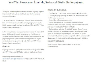 Swissotel Büyük Efes İzmir Yılbaşı 2020 Programı Menüsü Fiyatları