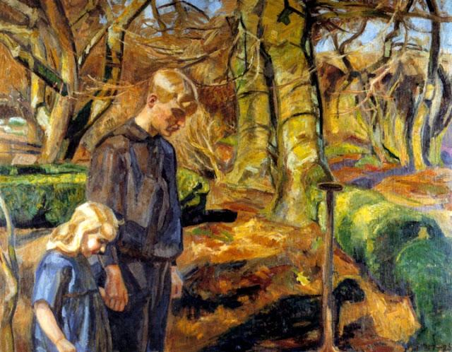 To børn begraver en fugl, af Fritz Syberg (1917-1925)