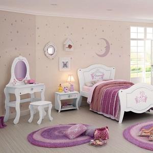 dormitorio decorado rosa y lila