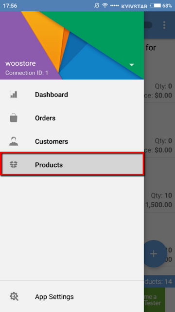 product section in woocommerce mobile assistant
