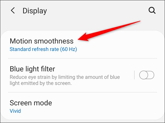 "Samsung Galaxy S20 حدد خيار ""Motion Smoothness"""