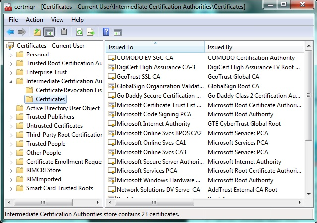 Cisco and Linux study notes: Windows 7 Certificate Manager