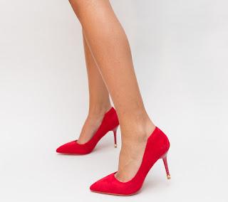 Pantofi eleganti rosii cu toc subtire comozi piele inatoarsa