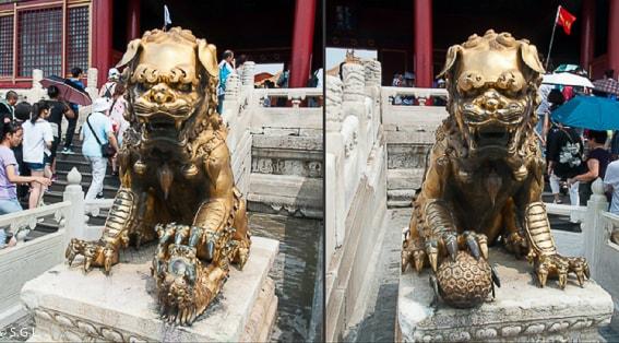 Leones de Fu protegiendo la ciudad prohibida. Pekin