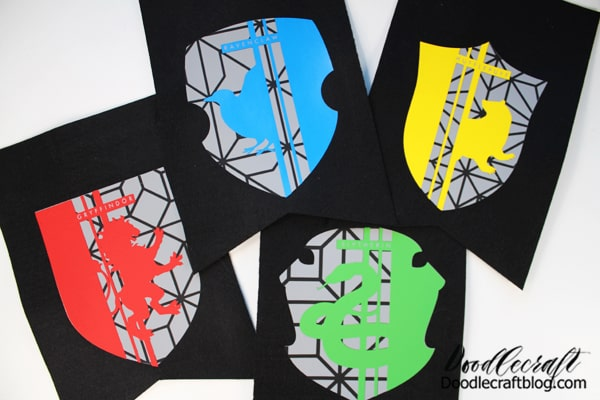 Don't they look great! These fun Harry Potter Hogwarts house crest designs would be awesome on a shirt too!