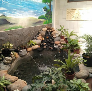 kolam ikan koi dengan dekorasi tebing