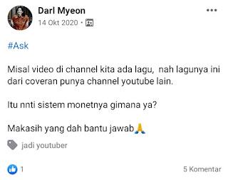 Apakah membuat video dengan musik cover dari youtuber lainnya di monetisasi?